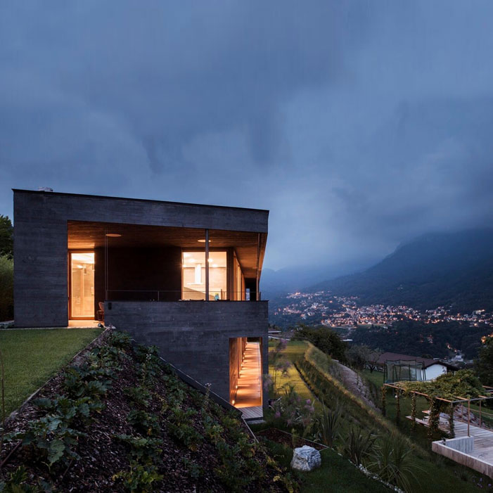 Villa Comano-concrete-wood-house